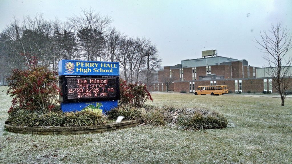Perry Hall High School in Winter